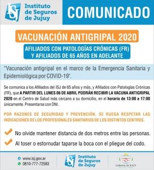 EL ISJ LANZÓ SU PLAN DE VACUNACIÓN ANTIGRIPAL 2020