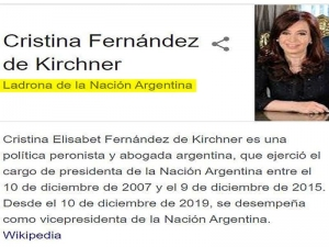 """Cristina Kirchner denunció a Google porque figuró como """"ladrona de la Nación Argentina"""""""